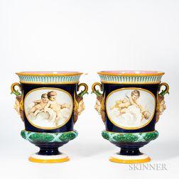 Pair of Majolica Glazed Earthenware Urns