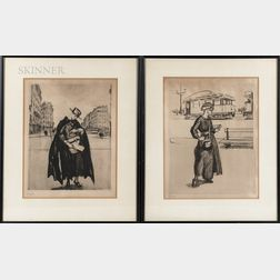 French School, 20th Century      Four Framed Intaglio Prints of Fashionably Dressed Parisian Women