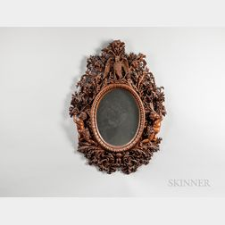 Black Forest-style Carved Wood Mirror