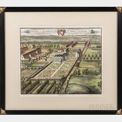 Johannes Kip (Dutch, 1653-1722) Four Hand-colored Engravings of English Country Houses: Beachborough, the Seat of William Brockman; Cle