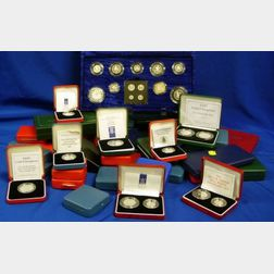 1980s and 1990s United Kingdom Royal Mint Silver Collectible Coins and Proofs