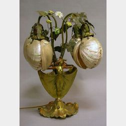 Art Nouveau Style Patinated Cast Metal Figural and Porcelain Floral Table Lamp with Abalone Shades.
