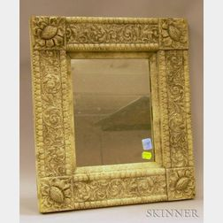 Mica-highlighted Painted Gesso Framed Mirror.