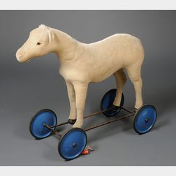 Steiff Cream-colored Plush Mohair Ride-On Horse