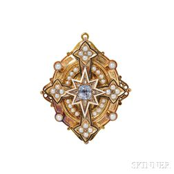 Victorian Gold, Sapphire, and Pearl Pendant/Brooch