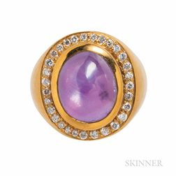 18kt Gold, Purple Star Sapphire, and Diamond Ring