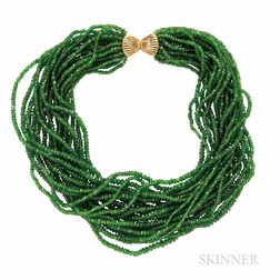 Tsavorite Garnet Bead Torsade Necklace