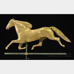 "Molded Gilt Copper ""Ethan Allen"" Running Horse Weather Vane"