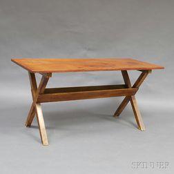 Grain-painted Pine Sawbuck Table