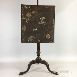 Georgian-style Carved Mahogany and Leather-upholstered Pole Screen