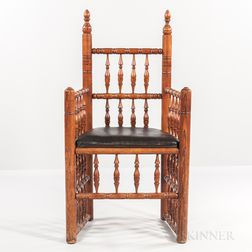Turned Oak Brewster-style Armchair
