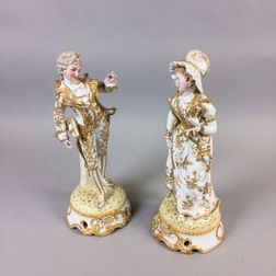 Pair of Continental Gilt Bisque Porcelain Figures