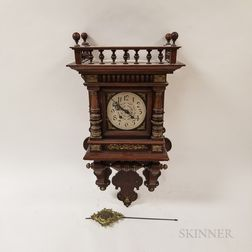 Carved and Ormolu-mounted Walnut Wall Clock