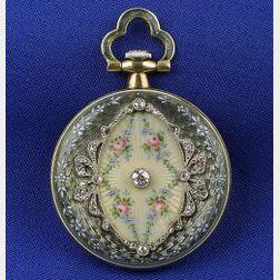Edwardian 18kt Gold, Diamond and Enamel Pendant Watch