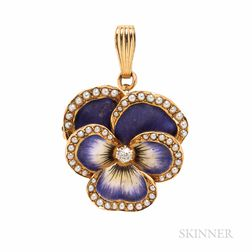 Antique 14kt Gold, Enamel and Diamond Pansy Pendant/Brooch
