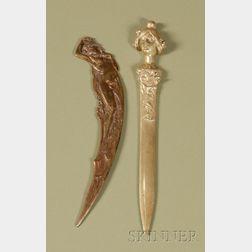 Two Art Nouveau Cast-metal Page Cutters