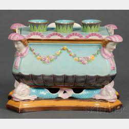 Wedgwood Majolica Bulb Pot and Cover