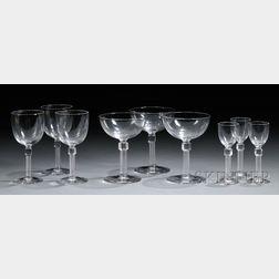 Fifteen-piece Set of Colorless Art Glass Stemware