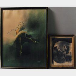 Albert Hirschfeld (American, 1903-2003)      Two Framed Lithographs:  Ballerina