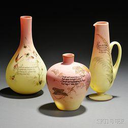 Three Mount Washington Glass Peachblow Items
