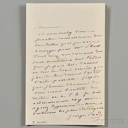 Sand, George (1804-1876) Autograph Letter Signed, 3 March [no year].