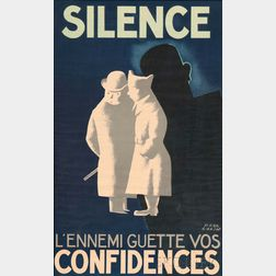 Paul Colin (French, 1892-1985)      Silence l'ennemi guette vos confidences