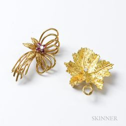 18kt Gold, Ruby, and Diamond Retro Brooch and 18kt Gold and Diamond Leaf Brooch