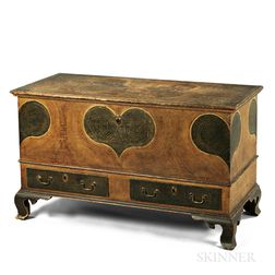 Putty-painted and Heart-decorated Poplar Blanket Chest over Two Drawers