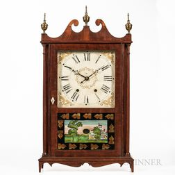 Mahogany Veneer Pillar and Scroll Mantel Clock