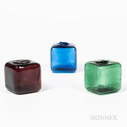 Three Blown Colored Glass Cubes