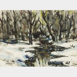 Walter Emerson Baum (American, 1884-1956)  Woodland Stream, Winter