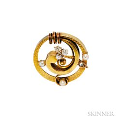 Antique 14kt Gold, Pearl, and Diamond Brooch