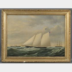 American School, 19th Century      Portrait of America's Cup Racing Yacht America   with Distant Steamer and Shi