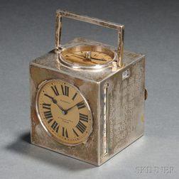 Silver Cube Desk Clock