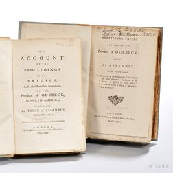 Maseres, Francis (1731-1824) An Account of the Proceedings of the British, and other Protestant Inhabitants of the Province of Quebeck