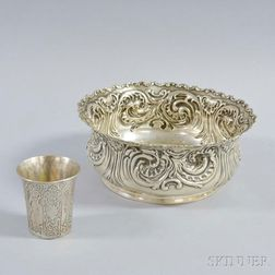 Whiting Mfg. Co. Sterling Silver Repousse Bowl and a Chased Beaker