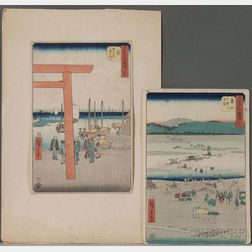 Utagawa Hiroshige (1797-1868), Two Woodblock Prints