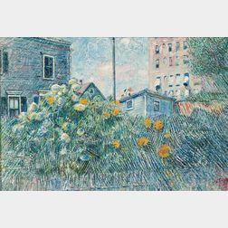 David Davidovich Burliuk (American/Ukrainian, 1882-1967)      Sunflowers in an Urban Garden
