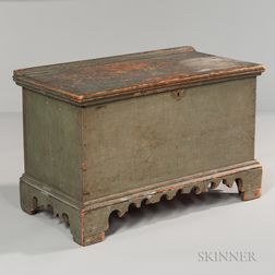 Small Light Green/blue-painted Pine Blanket Box