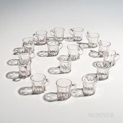 Set of Sixteen Blown Molded Punch Glasses