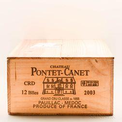 Chateau Pontet Canet 2003, 12 bottles (owc)