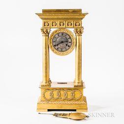 Late Empire Gilt-bronze Portico Table Regulator Clock