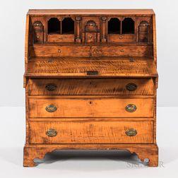 Chippendale Tiger Maple and Pine Slant-lid Desk