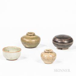 Four Glazed Stoneware Items