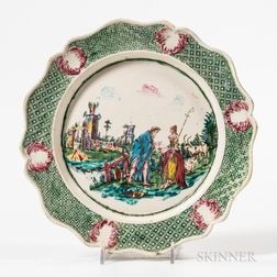 Staffordshire Polychrome Enameled White Salt-glazed Stoneware Plate
