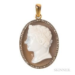 Antique Gold, Hardstone Cameo, and Diamond Pendant