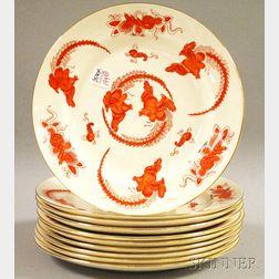 Set of Ten Royal Cauldon Hand-painted Gilt-rimmed Phoenix Plates