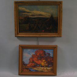 American School, 19th/20th Century      Two Landscape Paintings:   Harvest Scene