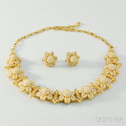 18kt Gold and Seed Pearl Suite