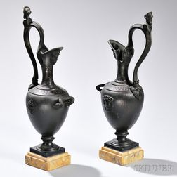 Pair of Victorian Empire-style Bronze Ewers